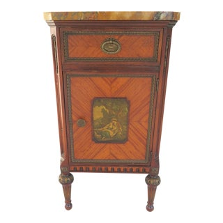 Louis XV Style Marble Top Nightstand For Sale