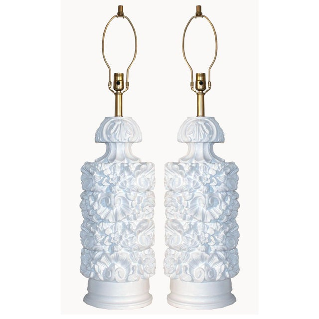 Glossy White Carved Floral Lamps - A Pair - Image 2 of 8