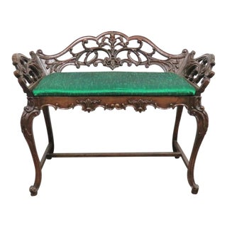 French Style Carved Mahogany Vanity Bench For Sale