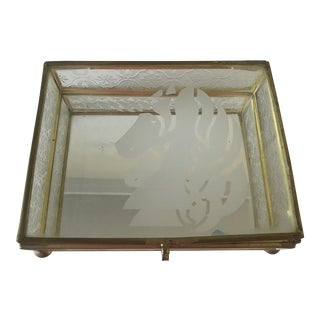 Etched Glass and Brass Unicorn Trinket Box For Sale