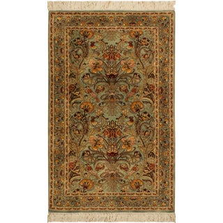 1990s Traditional Pak-Persian Ami Lt. Gold and Green Wool Rug (2'8 X 4'3) For Sale