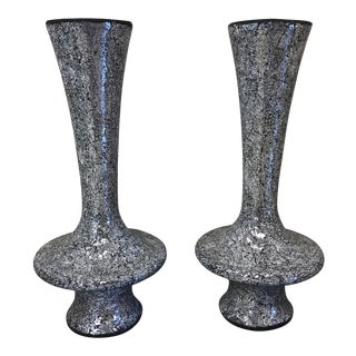 Monumental Mirrored Tile Mosaic Urns - A Pair For Sale