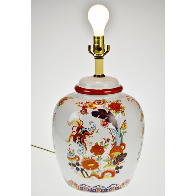Asian Vintage Large Scale Hand Painted Porcelain Ginger Jar Style Table Lamp For