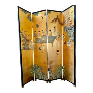 Chinoiserie Hand Painted Four Panel Room Divider For Sale