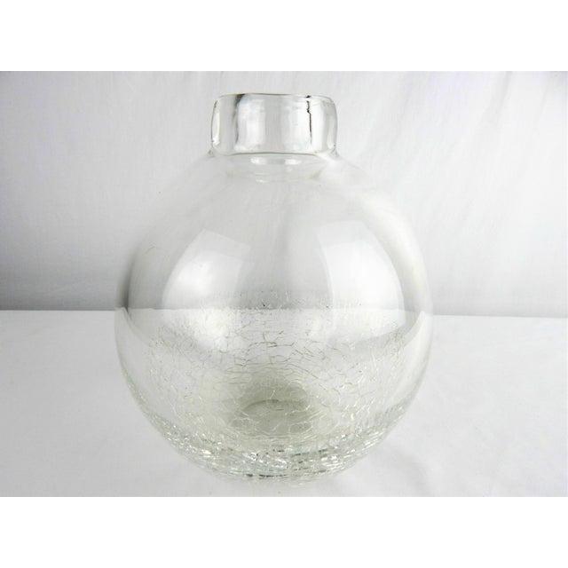 Modern Crackle Art Glass Vase For Sale - Image 3 of 7