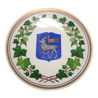 Upsala Ekeby Sweden Goat Crest & Ivy Wall Plate For Sale