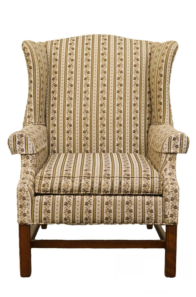 Bon Late 20th Century Vintage Ethan Allen Upholstered Wingback Armchair For  Sale   Image 10 Of 10