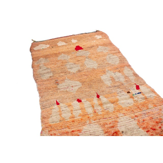 Rug & Kilim's contemporary Moroccan Berber rug is like an abstract painting. A wonderful gold field with accents in red,...