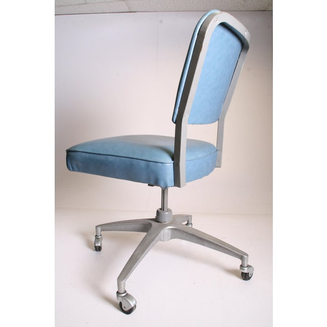 Mid Century Modern Blue Vinyl Swivel Office Chair - Image 8 of 11