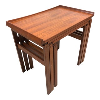 Moreddi Danish Mid Century Modern Nesting Tables in Teak For Sale