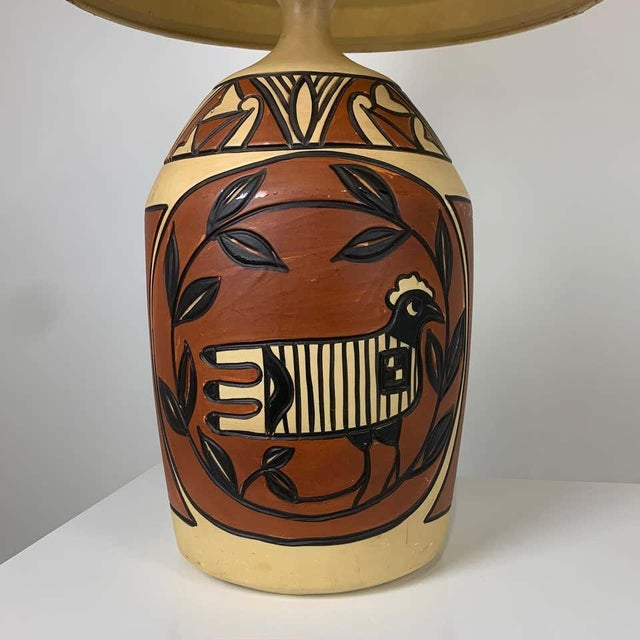 Mid 20th Century Aztec /Southwestern Pablo Picasso Style Ceramic Table Lamps - a Pair For Sale - Image 5 of 12