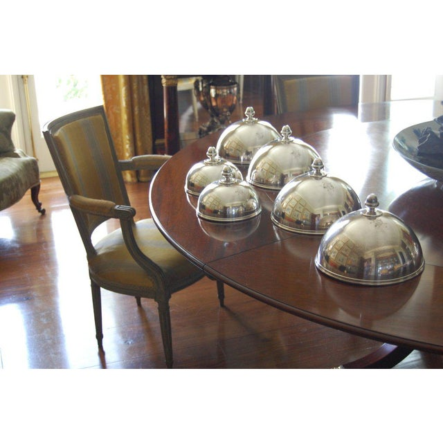 """Six English heavy silver plate dish covers of elegant and Classic design in two sizes. Four @ 10"""" D x 8"""" H. Two @ 7.5""""D x..."""