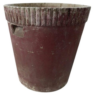 French Red Ribbed Lipped Planter For Sale