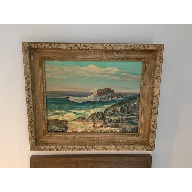 Wood Framed Rocky Beach Seascape Oil Painting, Signed For Sale - Image 7 of 12