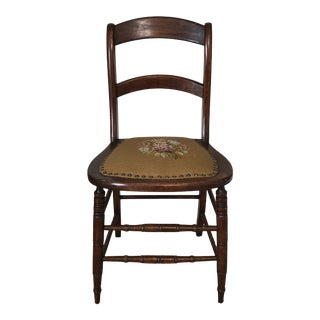 Antique Needlepoint Seat Wood Chair For Sale