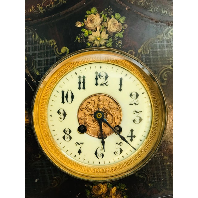 19th Century 19th Century Tole Painted Decorative Wall Clock For Sale - Image 5 of 7