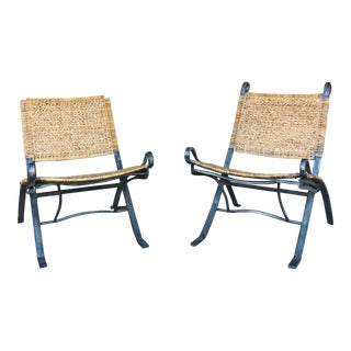 1970s Vintage Wrought Iron and Cane Folding Lounge Chairs- A Pair For Sale