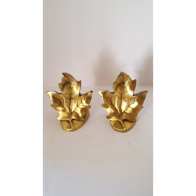1900s Brass Maple Leave Bookends - a Pair For Sale - Image 5 of 5