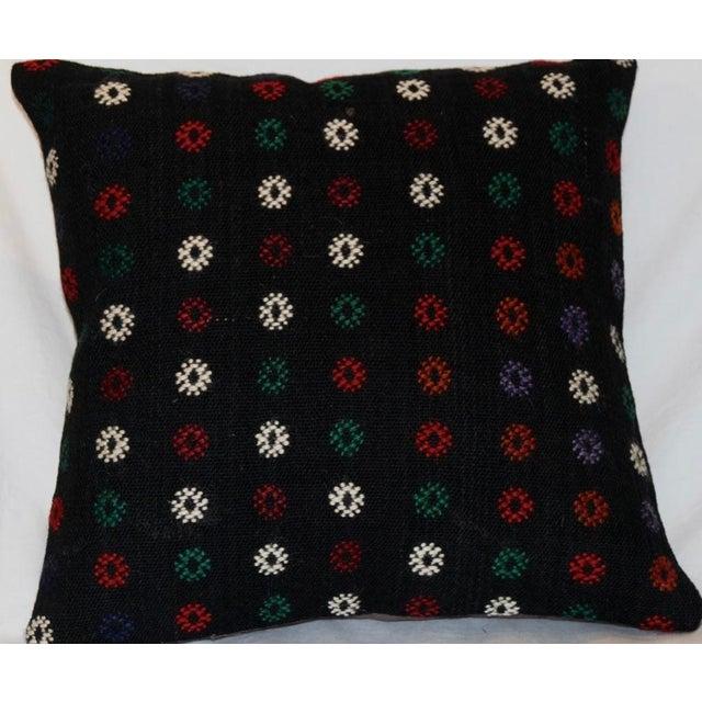 Vintage Handmade Boho Chic Wool Kilim Pillow For Sale - Image 4 of 5
