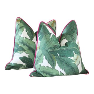 Outdoor Palm Print Pillow Covers - a Pair For Sale