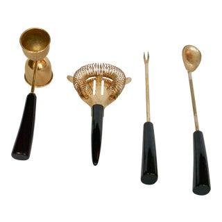 1950s Mid Century Gold Barware Utensils-Set of 5 For Sale