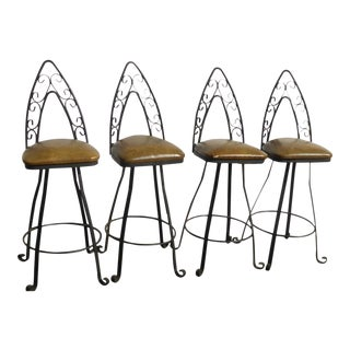 Vintage Mid Century Spanish Style Iron Gold Swivel Barstools- Set of Four For Sale