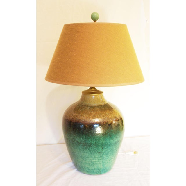 Viridian Pottery Table Lamp - Image 4 of 5