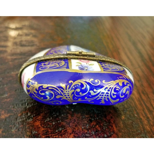 Cute French Limoges Heart Shaped Box/Bottle/Container. From circa 1880. Lovely gilt work with floral pattern, all hand-...