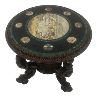 Late 19th Century Italian Carved Figural Table With Micro Mosaic Top With Cherubs and Dolphins For Sale