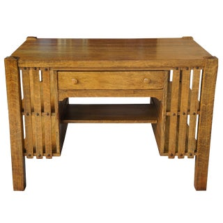 20th Century Mission Arts & Crafts Quartersawn Oak Library Table For Sale