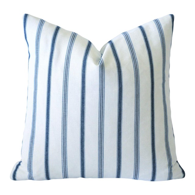 French Blue Mattress Ticking Pillow Cover 20x20 For Sale