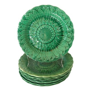Wedgwood Majolica Leaf Plates, Set of 8 For Sale