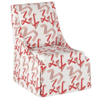 Skirted Accent Chair in Pink & Red Ribbon by Angela Chrusciaki Blehm for Chairish For Sale