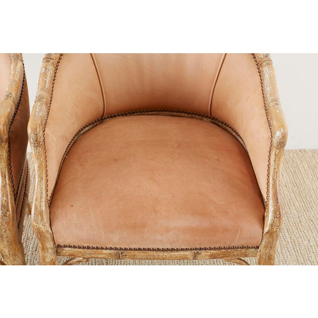 Mid 20th Century Set of Four Faux Bamboo Leather Barrel Back Lounge Chairs For Sale - Image 5 of 13