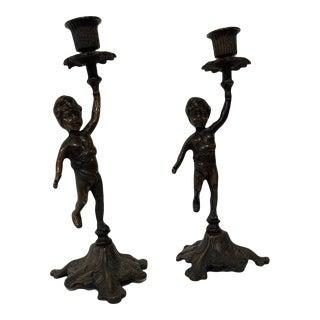 Early 20th Century Austrian Bronze Cherub Candlesticks - a Pair For Sale