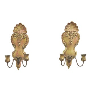 19th Century Italian Gilt Carved Sconces - a Pair