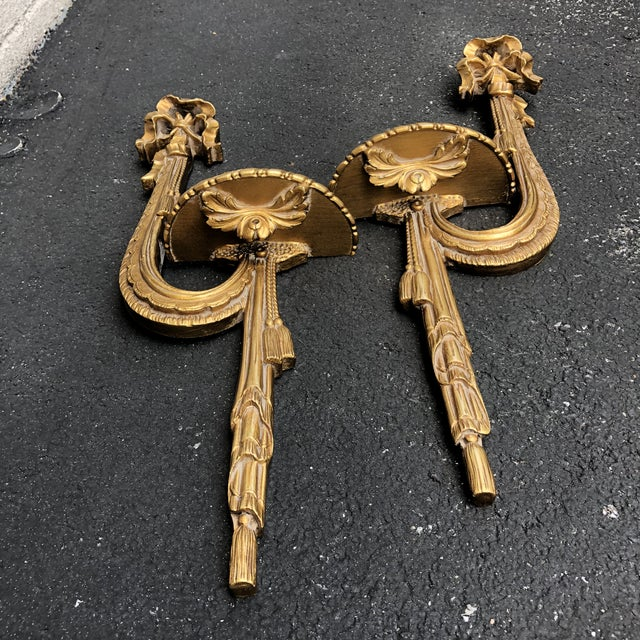 Gold Gilt Ribbon Tassel Wall Shelf Sconces - a Pair For Sale In Baltimore - Image 6 of 8