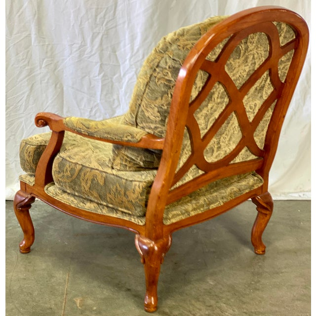 Drexel Vintage Walnut Drexel Heritage Upholstered Bergere Chair For Sale - Image 4 of 10