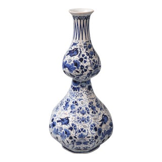 Antique Delft Double Gourd Vase For Sale