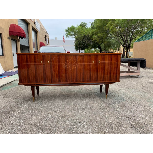 Art Deco 1940s Vintage French Macassar Ebony Sideboard For Sale - Image 3 of 13