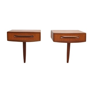 Vintage Mid-Century G-Plan Fresco Floating Nightstands Bedside Tables (Pair) For Sale