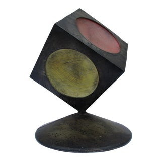1970s Industrial Cube Sculpture For Sale