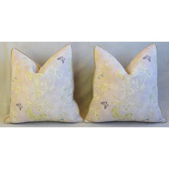 """Feather Pale Lavender Wildflower & Butterfly Linen Feather/Down Pillows 23"""" Square - Pair For Sale - Image 7 of 13"""