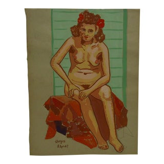 "1947 Mid-Century Modern Original Drawing on Paper, ""Red and Pink Nude"" by Tom Sturges Jr For Sale"
