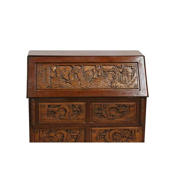 Vintage Hand Carved Chinese Desk W/Drop Down Front - Image 4 of 5