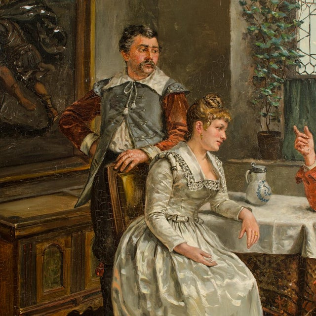 """Victorian Mid 19th Century """"The Meeting"""" Figurative Victorian Oil Painting by Eduard Merk For Sale - Image 3 of 10"""