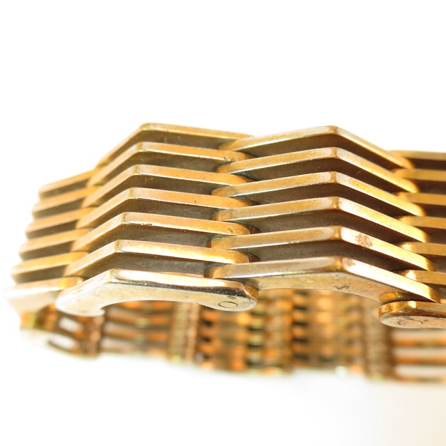 Gold Roger Edet Paris Modernist Architectural Link Bracelet 1940s For Sale - Image 8 of 13