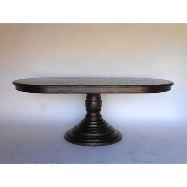 Modern Custom Oval Beehive Pedestal Dining Table in Walnut Wood For Sale - Image 3 of 7