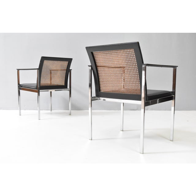 Lane Furniture Mid-Century Chrome & Cane Dining Chairs by Lane For Sale - Image 4 of 13