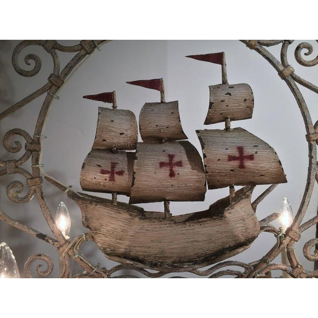 Mid-20th Century French Painted Iron Six-Light Sailboat Chandelier - Image 3 of 9